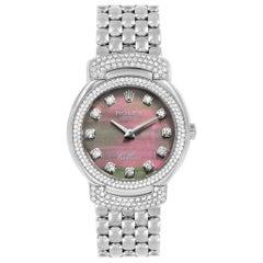 Rolex Cellini Cellissima White Gold MOP Diamond Ladies Watch 6673