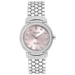 Rolex Cellini Cellissima White Gold Pink Dial Diamond Ladies Watch 6673
