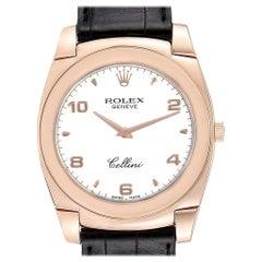 Rolex Cellini Cestello 18 Karat Rose Gold White Dial Men's Watch 5330