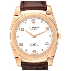 Rolex Cellini Cestello 18 Karat Rose Gold White Dial Men's Watch 5330