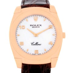 Rolex Cellini Cestello 18 Karat Rose Gold White Dial Watch 5330