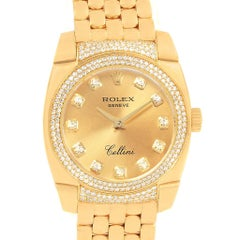 Rolex Cellini Cestello 18 Karat Yellow Gold Diamond Ladies Watch 6311 Box