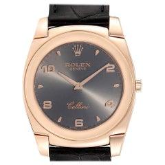 Rolex Cellini Cestello 18 Karat Rose Gold Slate Dial Men's Watch 5330