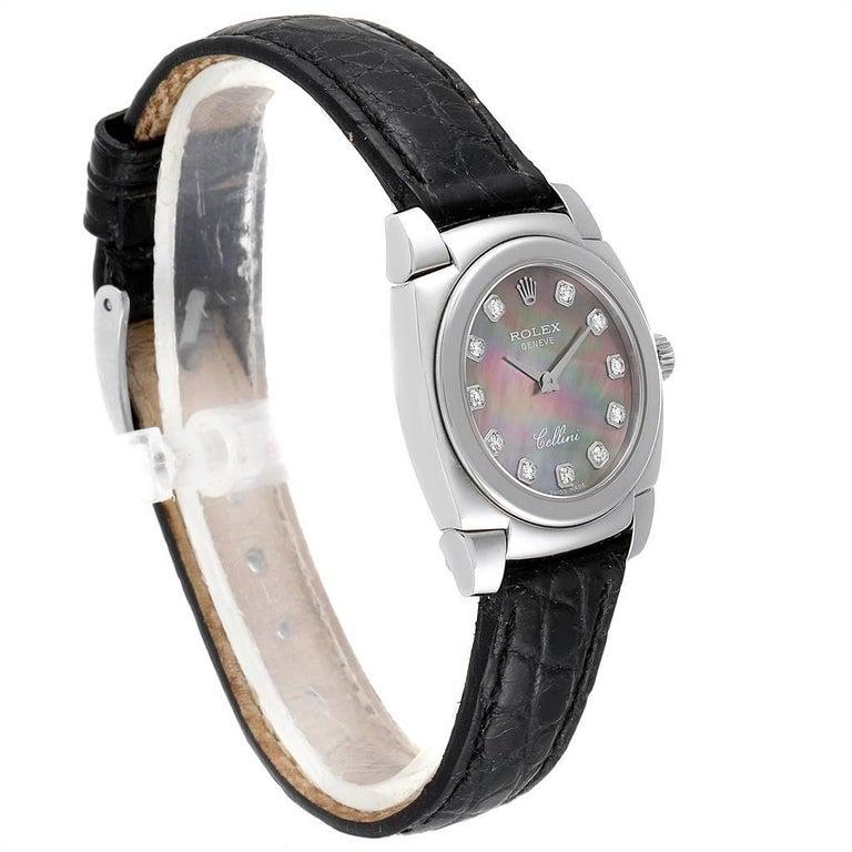 Rolex Cellini Cestello White Gold MOP Diamond Dial Ladies Watch 5310 In Excellent Condition For Sale In Atlanta, GA