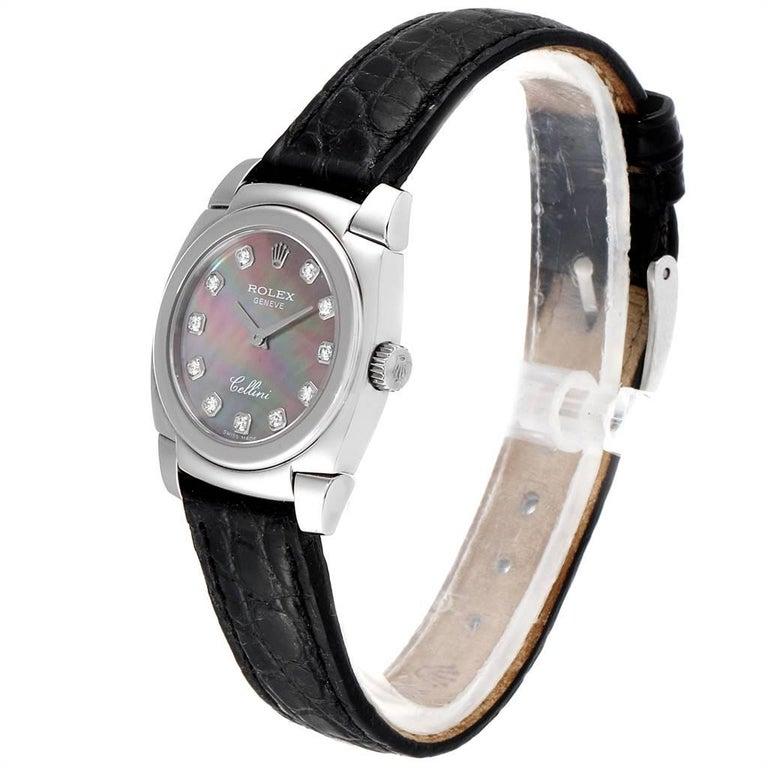 Women's Rolex Cellini Cestello White Gold MOP Diamond Dial Ladies Watch 5310 For Sale
