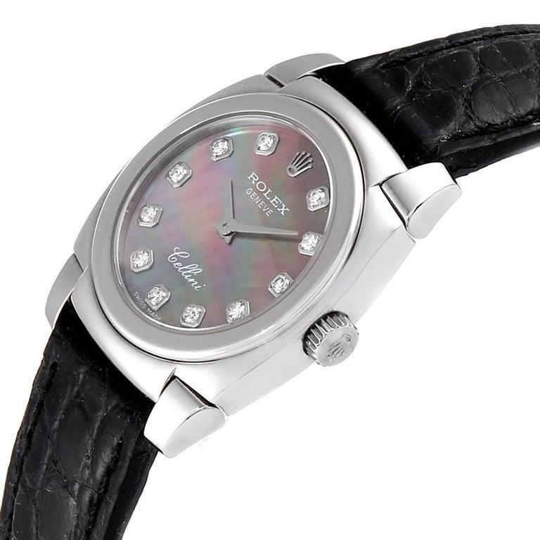 Rolex Cellini Cestello White Gold MOP Diamond Dial Ladies Watch 5310 For Sale 1