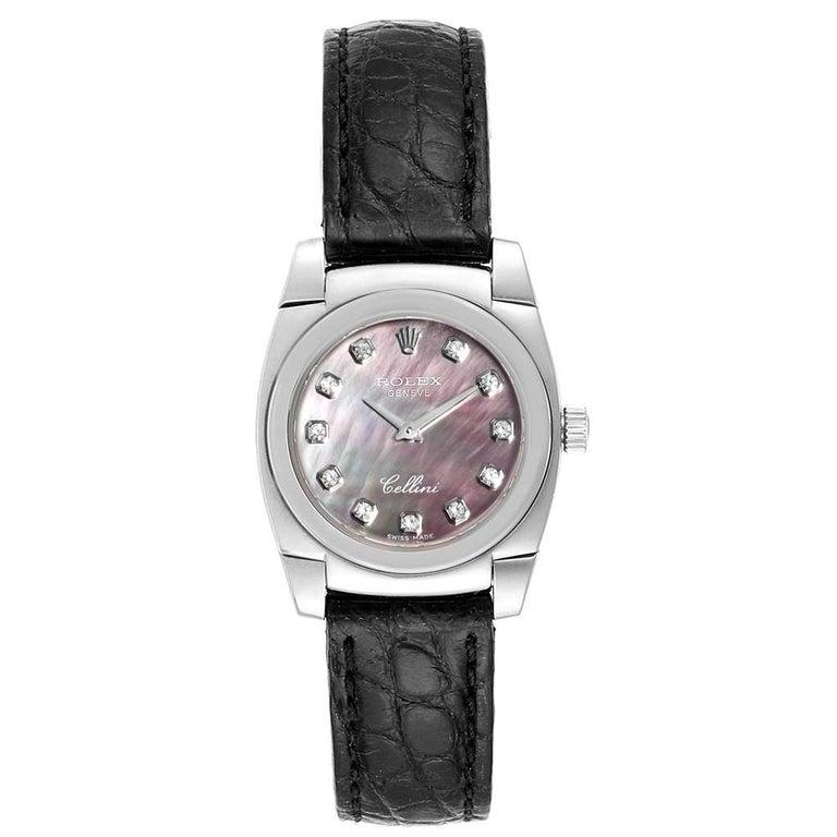 Rolex Cellini Cestello White Gold MOP Diamond Dial Ladies Watch 5310 For Sale