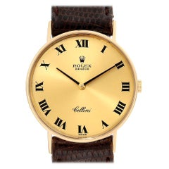 Rolex Cellini Classic 14 Karat Yellow Gold Brown Strap Unisex Watch 3833