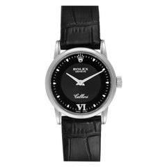Rolex Cellini Classic 18 Karat White Gold Black Dial Ladies Watch 6111
