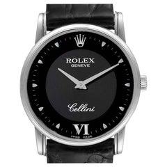Rolex Cellini Classic 18 Karat White Gold Black Dial Men's Watch 5116 Box