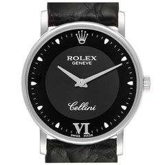 Rolex Cellini Classic 18 Karat White Gold Black Dial Unisex Watch 5115