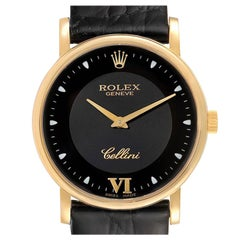 Rolex Cellini Classic 18 Karat Yellow Gold Black Dial Unisex Watch 5115