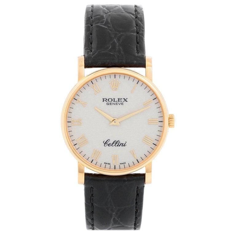 Rolex Cellini Classic 18 Karat Yellow Gold Men's Watch 5115 For Sale