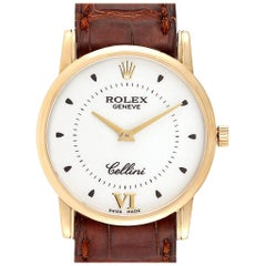 Rolex Cellini Classic 18 Karat Yellow Gold Silver Dial Brown Strap Watch 5116