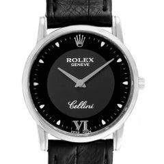 Rolex Cellini Classic 18 Karat White Gold Black Dial Men's Watch 5116