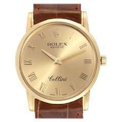 Rolex Cellini Classic 18 Karat Yellow Gold Roman Dial Brown Strap Watch 5116