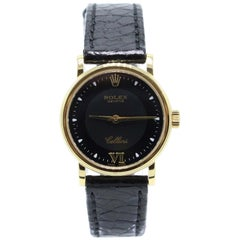 Rolex Cellini Classic 6110 18 Karat Yellow Gold Black Leather Strap