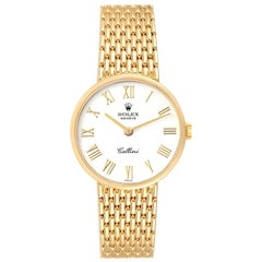 Rolex Cellini Classic White Dial Yellow Gold Ladies Watch 5041