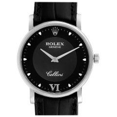 Rolex Cellini Classic White Gold Black Dial Men's Watch 5115