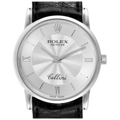 Rolex Cellini Classic White Gold Decorated Silver Dial Men's Watch 5116
