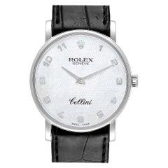 Rolex Cellini Classic White Gold MOP Dial Black Strap Men's Watch, 5115