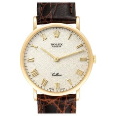 Rolex Cellini Classic Yellow Gold Anniversary Dial Black Strap Watch 5112