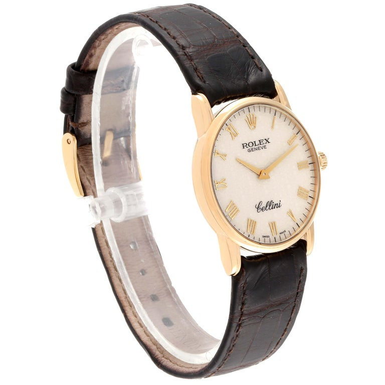 Rolex Cellini Classic Yellow Gold Anniversary Dial Brown Strap Watch 5116 In Excellent Condition For Sale In Atlanta, GA