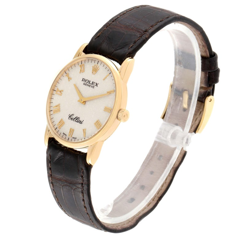 Men's Rolex Cellini Classic Yellow Gold Anniversary Dial Brown Strap Watch 5116 For Sale