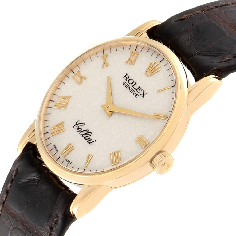 Rolex Cellini Classic Yellow Gold Anniversary Dial Brown Strap Watch 5116 For Sale 1