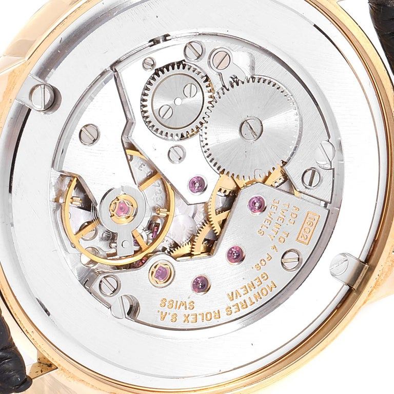 Rolex Cellini Classic Yellow Gold Anniversary Dial Brown Strap Watch 5116 For Sale 2