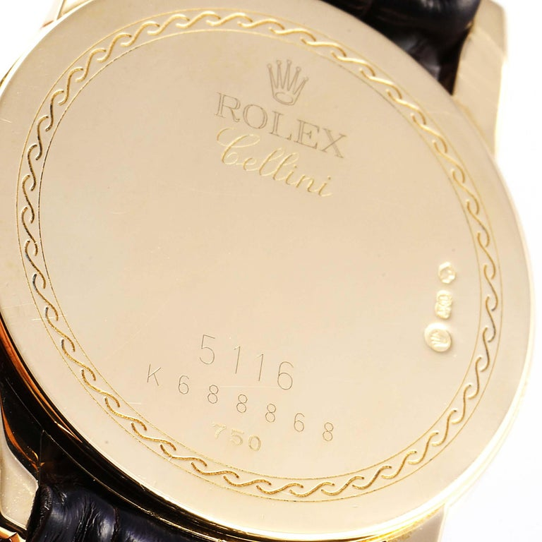 Rolex Cellini Classic Yellow Gold Anniversary Dial Brown Strap Watch 5116 For Sale 3