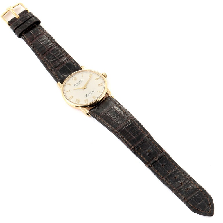 Rolex Cellini Classic Yellow Gold Anniversary Dial Brown Strap Watch 5116 For Sale 5
