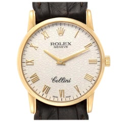 Rolex Cellini Classic Yellow Gold Anniversary Dial Brown Strap Watch 5116
