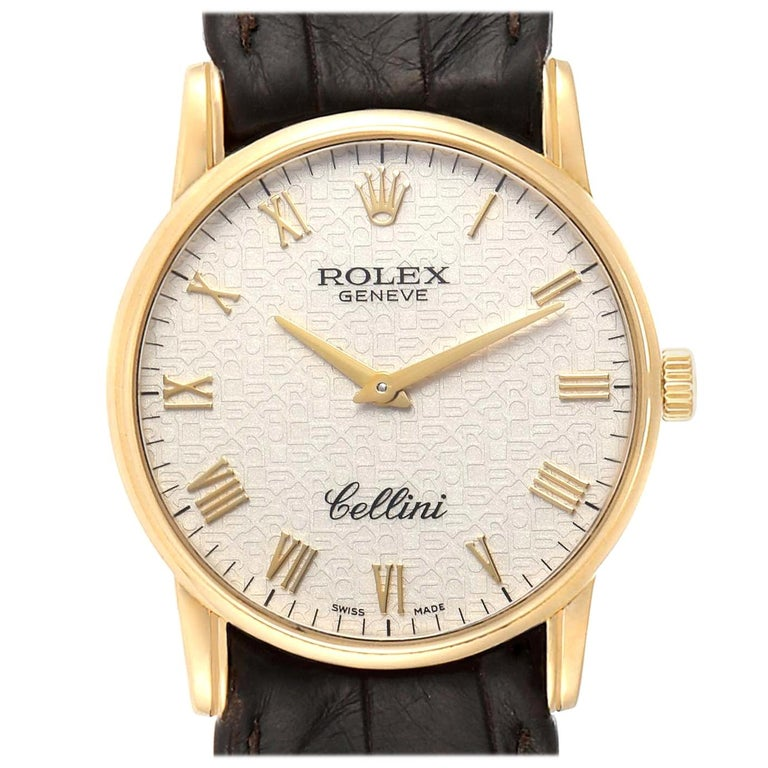 Rolex Cellini Classic Yellow Gold Anniversary Dial Brown Strap Watch 5116 For Sale