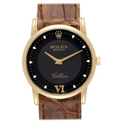 Rolex Cellini Classic Yellow Gold Black Dial Watch 5116 Box Papers