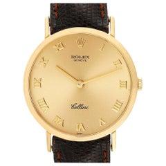 Rolex Cellini Classic Yellow Gold Brown Strap Men's Watch 4112