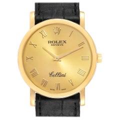 Rolex Cellini Classic Yellow Gold Brown Strap Men's Watch 5115 Box Card