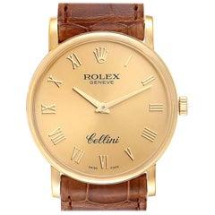 Rolex Cellini Classic Yellow Gold Brown Strap Men's Watch 5115
