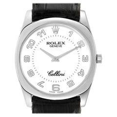 Rolex Cellini Danaos 18 Karat White Gold Black Strap Men's Watch 4233