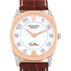 Rolex Cellini Danaos 18 Karat White Rose Gold Brown Strap Men's Watch 4233