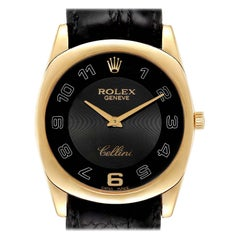 Rolex Cellini Danaos 18 Karat Yellow Gold Black Dial Men's Watch 4233