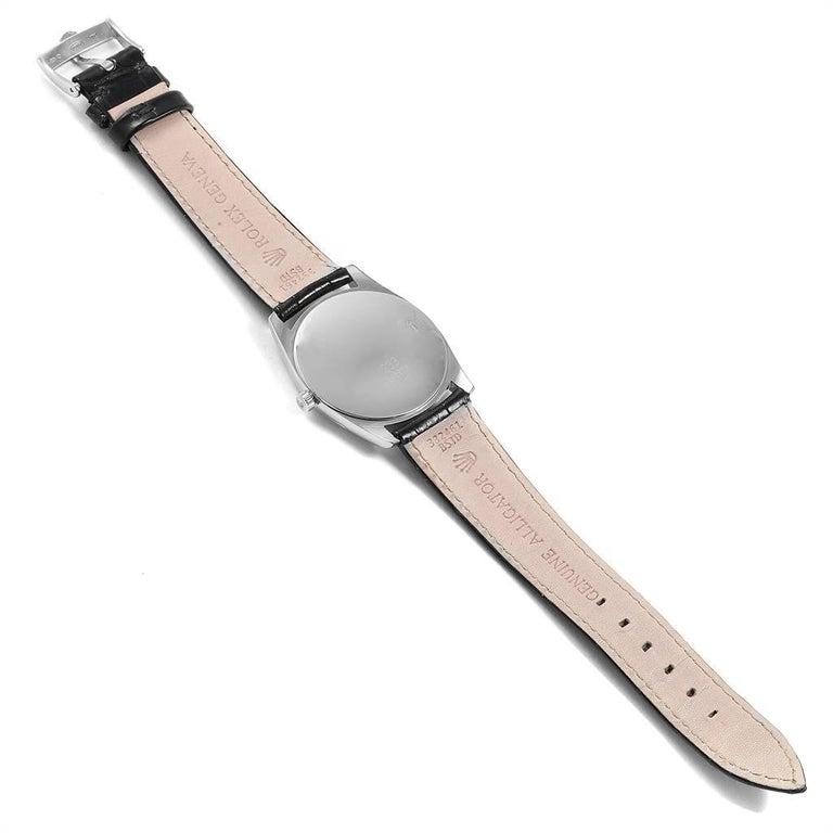 Rolex Cellini Danaos 18 Karat White Rose Gold Black Strap Men's Watch 4233 For Sale 7