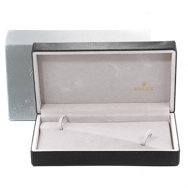 Rolex Cellini Danaos 18 Karat White Rose Gold Black Strap Men's Watch 4233 For Sale 8