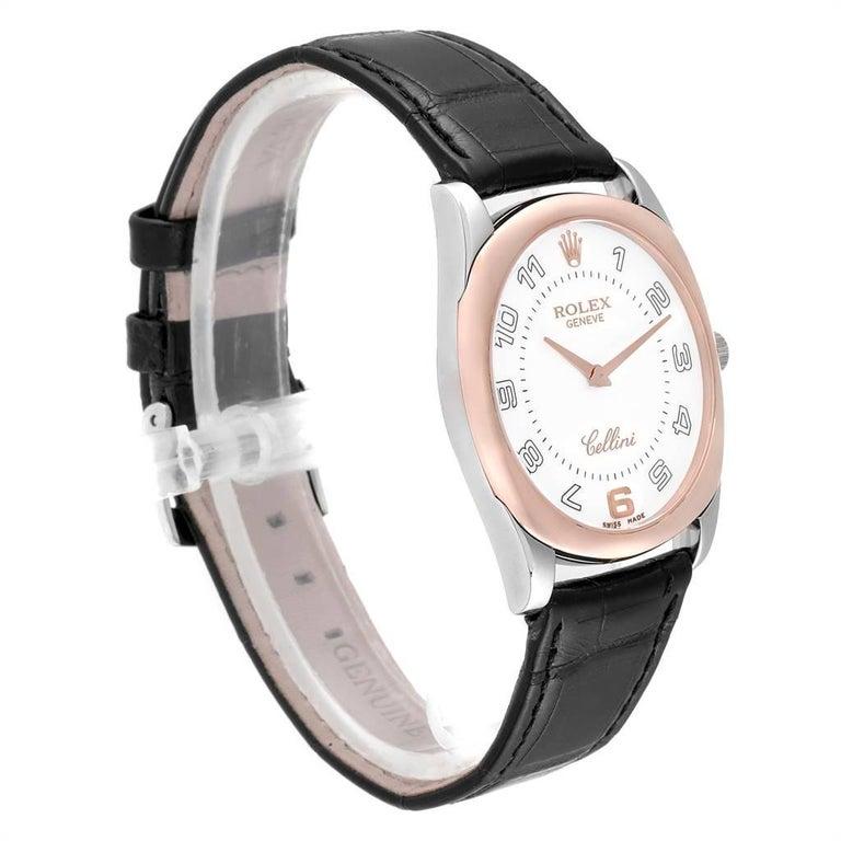Rolex Cellini Danaos 18 Karat White Rose Gold Black Strap Men's Watch 4233 In Excellent Condition For Sale In Atlanta, GA