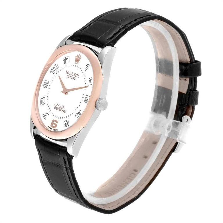 Rolex Cellini Danaos 18 Karat White Rose Gold Black Strap Men's Watch 4233 For Sale 1