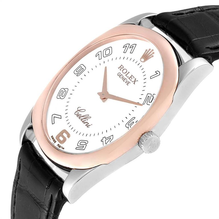 Rolex Cellini Danaos 18 Karat White Rose Gold Black Strap Men's Watch 4233 For Sale 2