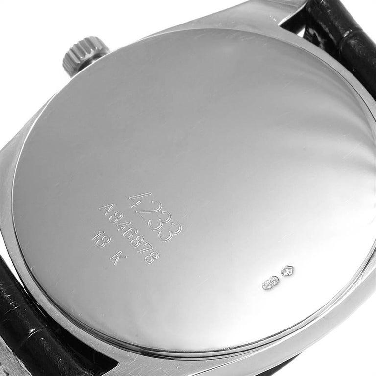 Rolex Cellini Danaos 18 Karat White Rose Gold Black Strap Men's Watch 4233 For Sale 3