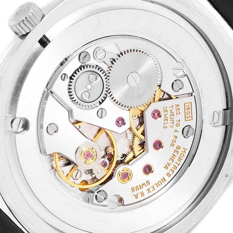 Rolex Cellini Danaos 18 Karat White Rose Gold Black Strap Men's Watch 4233 For Sale 4