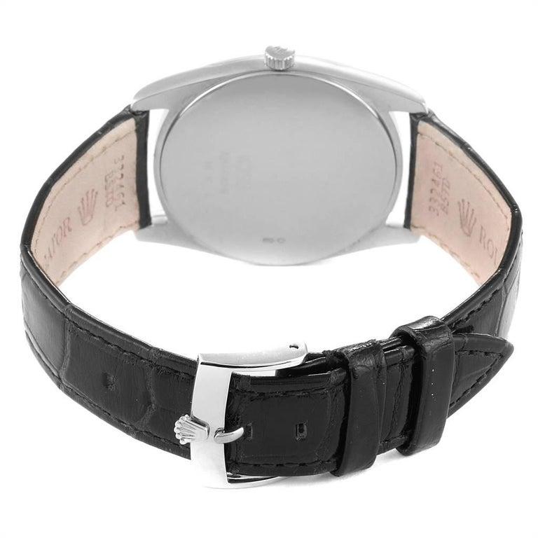 Rolex Cellini Danaos 18 Karat White Rose Gold Black Strap Men's Watch 4233 For Sale 5