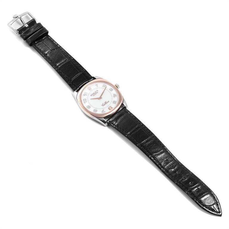 Rolex Cellini Danaos 18 Karat White Rose Gold Black Strap Men's Watch 4233 For Sale 6